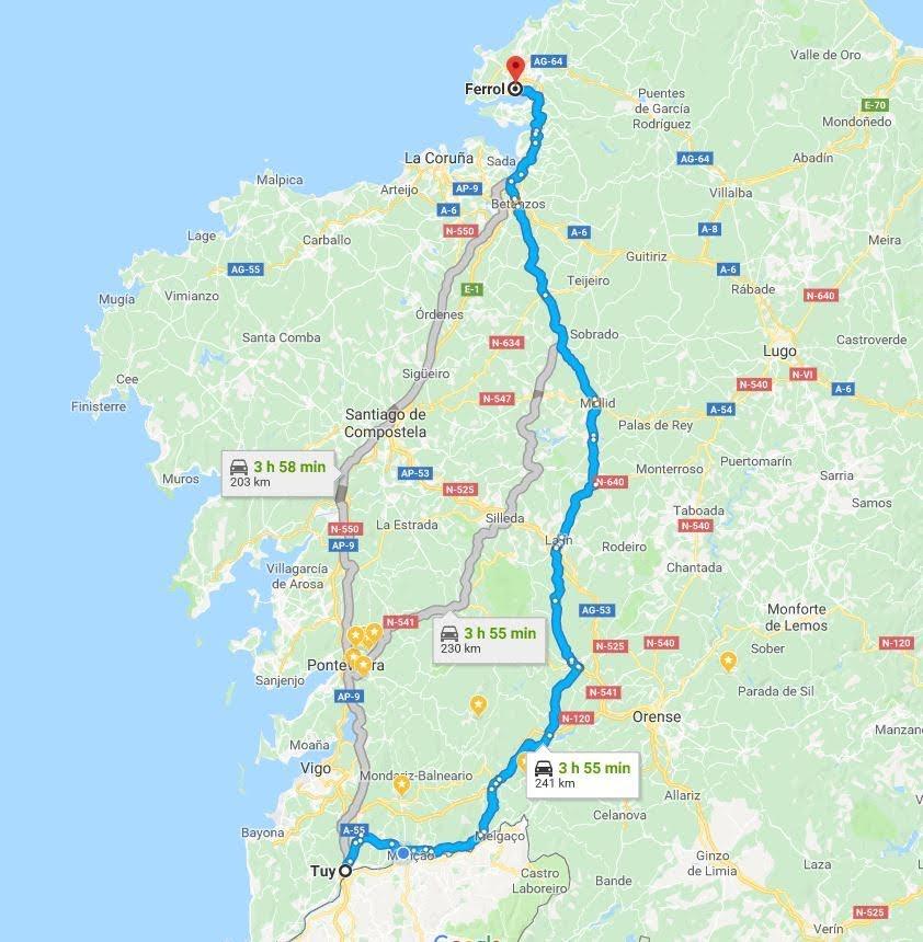 Distancia y tiempo de Tui a Ferrol por carreteras sin peaje